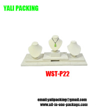 Fabricante de exhibición de madera cubierto PU de la PU beige de gama alta (WST-P22)