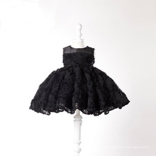 Schwarze Spitze Little Girl Kleider