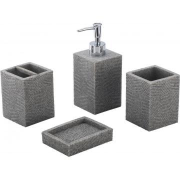 Juego de accesorios de baño de Polyresin cuadrado gris 4 piezas