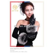 2014 Damen Pelz gefüttert Schaffell Leder Handschuhe