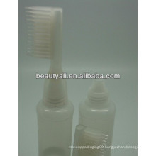 Cosmetic PE bottle with comb cap