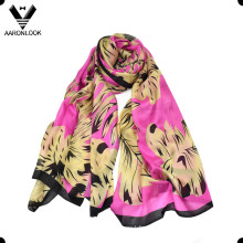 Women′s High Fashion No MOQ Retail Leaf Print Silk Fabric Scarf
