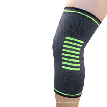 Green stripped nylon knitted power knee pads compression sleeve for volleyball