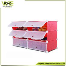 Cabinet de chaussure de stockage en plastique coloré de Cabinet de 6 cubes