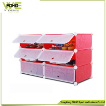 6 Cubes Cabinet Colorful Plastic Storage Shoe Cabinet