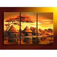 Handmade africano paisagem pintura a óleo (ar-066)