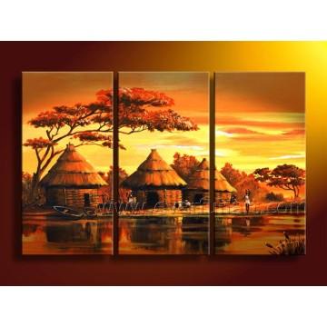 Peinture à l'huile de paysage africain fait à la main (AR-066)