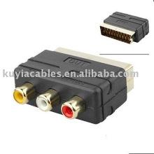 Scart zu RCA Kabeladapter RGB Scart Stecker auf 3 RCA Buchse Adapter TV Kabel dvd vcr Eingang analog