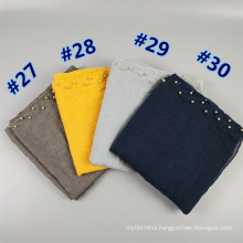 Top selling printed scarf shawl plain fashion two rows pearl cotton hijab