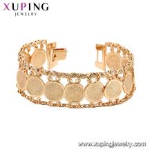 75193 Xuping nova venda popular ampla pulseira de punho de ouro moda cadeias de jóias de níquel livre
