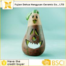 Keramik Auberginen Kerzenständer Kunst für Halloween Dekoration