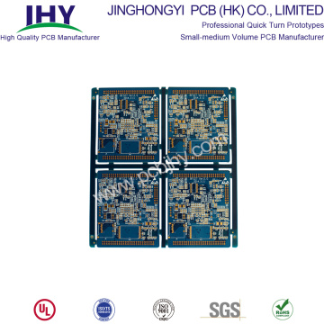8-laags PCB-onderdompeling goudblauw FR4