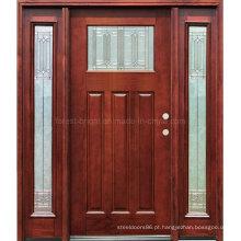 Porta de madeira de mogno manchada com One Lite dois lados Lites