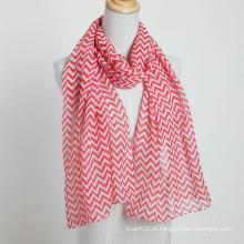 Cachecol de moda com teste padrão de ondas lençois senhoras lenço vermelho cor poliéster voile xales
