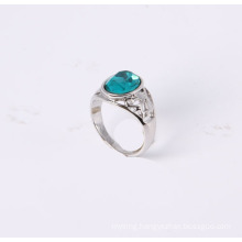 Simple Style Jewelry Ring with Blue Glass Stone Rhodium Plated Good Quality Good Price