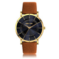 genuine leather strap goldlis stainless steel quartz men watch