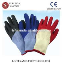 polycotton gloves coated with latex 1/2 palm,wrinkle finish,10 gauge 5 threads