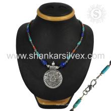 Эффектный мульти драгоценных камней серебряный ювелирных изделий ожерелья 925 серебряные ювелирные изделия индийских серебряные ювелирные изделия