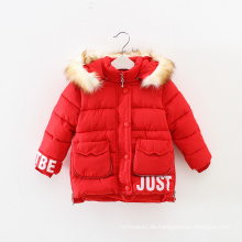 Kleidungs-Entwurfsgroßverkauf des längsten Kleides der warmen Winterkleidungsmädchen mit Kapuze, Haubenmädchen-Wintermantel