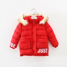 Mais recente vestido de design atacado roupas de inverno quente meninas com capuz casaco, capuz meninas casaco de inverno