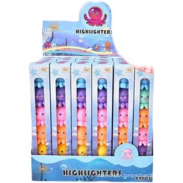 New arrived Highlighter Pen Super Cute Little Octopus Pastel Highlighter Detachable 5colors Highlighter Marker For Kids