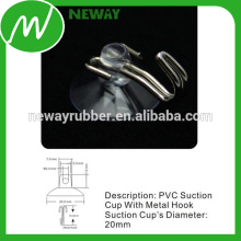 Flexible 20mm PVC Suction Cup with Metal Hook