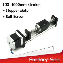 Low cost horizonal or vertical usage linear slide with step motor for printers