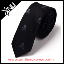 White and Gray Skull Plain Black Tie
