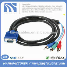 1.8m 6 ft VGA to 3-RCA AV Component Cable For PC HDTV