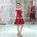 High Quality Plus Size Red Wine Satin Lace Short Evening Gown Dress