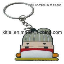 Porte-clés gravé en plastique de silicone de silicone de fantaisie de PVC de mode