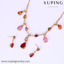 61637- Xuping Earring Necklace Set Luxury Bridal Jewellery With 18K Gold Plated
