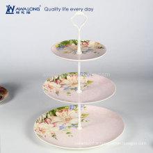 Western Design Daily utilisé Support de gâteau en porcelaine rose à trois couches, plaque de gâteau aux fines céréales
