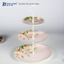 Western Design Daily Used Pink Three-layer Porcelain Cake Stand, Fine Ceramic Fruit Cake Plate