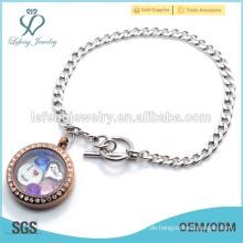 Edelstahl Kubanische Kette Armband, 316l Edelstahl Silber & Schokolade Kristall Locket Armband
