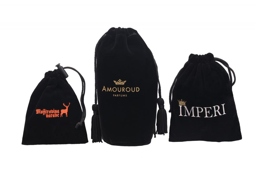 Black Velvet Bags with Gold Printing