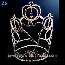 Vente en gros de haute qualité Crystal Spider Ghost Pumpkins Pageant Crown pour Halloween