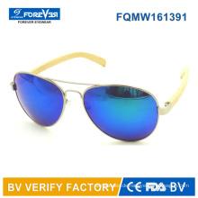 Fqmw161391 guter Qualität Metall Sonnenbrille mit Bambus-Tempel
