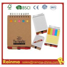 Mini cuaderno con notas adhesivas y bolígrafo
