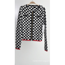 Women Patterned Cardigan Knitting Sweater with Zipper