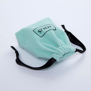 mint green mini velvet pouch with black string