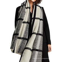 Mode BOLD plaid gris noir hiver femmes acrylique tricot pashmina écharpe 2017