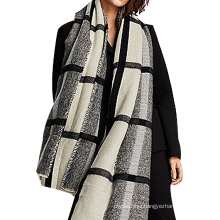 Fashion bold plaid grey black winter women acrylic knitted pashmina scarf 2017