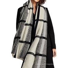 Moda negrito xadrez cinza preto inverno mulheres acrílico de malha pashmina lenço 2017