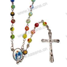 6мм смешанный цвет стеклянных бусин Розария, религиозное ожерелье с Богородицы и центральным центральным крестом