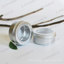 Frasco de creme cosmético de alumínio 150g com tampa de janela