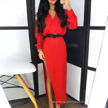 Top Quality Fall Autumn Red Dress Women V Neck Bodycon Sexy Split Women Party Dress