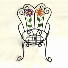 Decoración de jardín de metal Sola silla Flowerpot Stand Artesanía