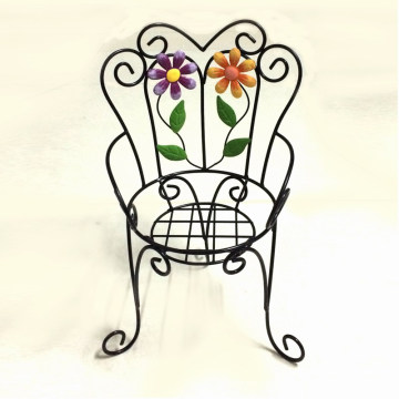 Décoration de jardin en métal Single Chair Flowerpot Stand Craft