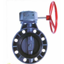 Plastic Wafer Type Butterfly Valve with Gear Operator